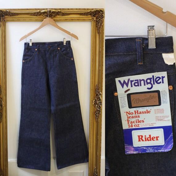 1970s Wrangler Rider wide leg jeans // vintage deadstock denim // vintage jeans