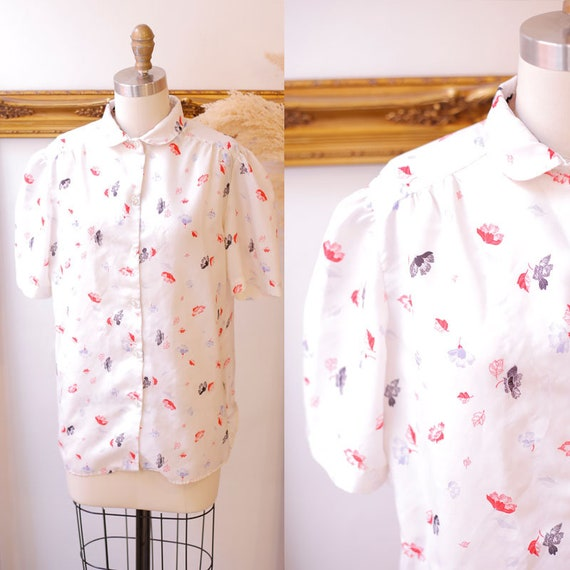 1970s floral print top // 1970s floral button up top // 1970s collared shirt