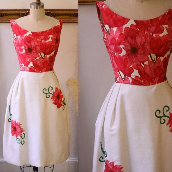 1950s pink floral print dress // 1950s summer dress // vintage dress
