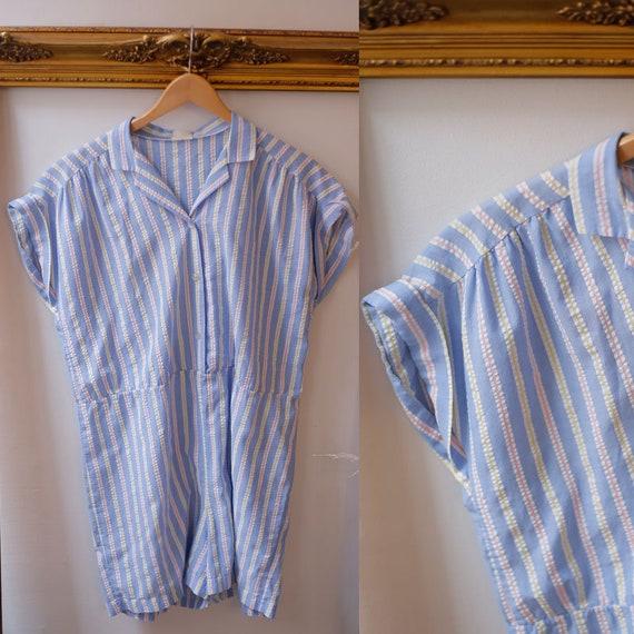 1980s striped romper // 1980s blue romper // 1980s shorts romper