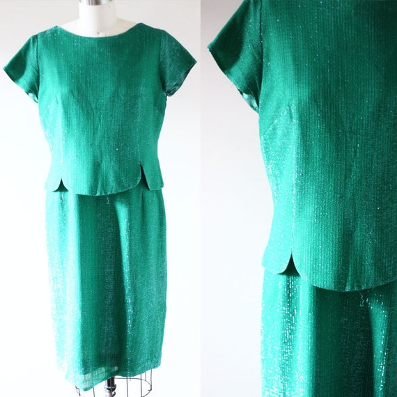 1960s Green Sparkly Dress // Tinkerbell dress // vintage dress