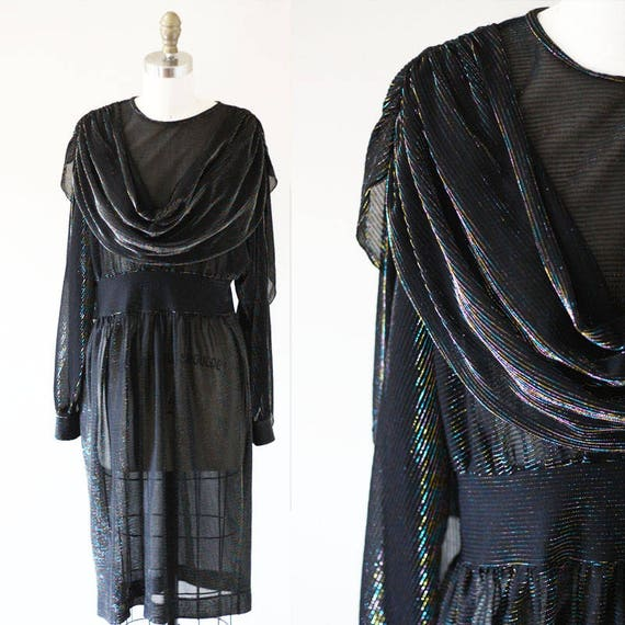 1980s black sheer sparkle dress // rainbow shawl dress // vintage disco dress