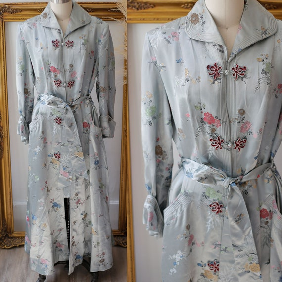 1940s satin embroidered robe // 1940s liquid satin