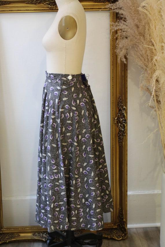 1950s novelty leaf skirt // 1950s grey novelty sk… - image 6