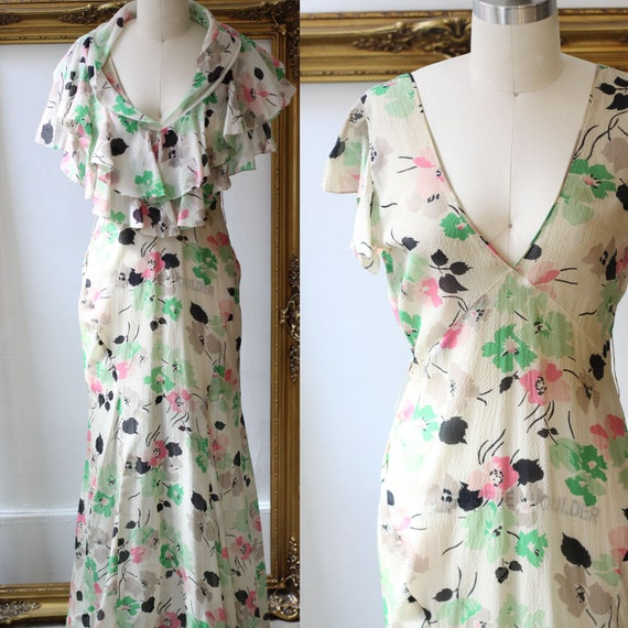 1920s sheer floral dress // 1920s flapper dress  // vintage dress