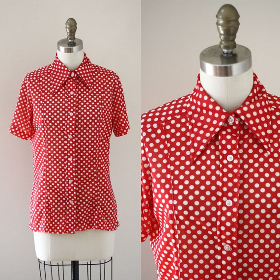 1970s red polka dot top // 1970s polka dot top // 1970s blouse