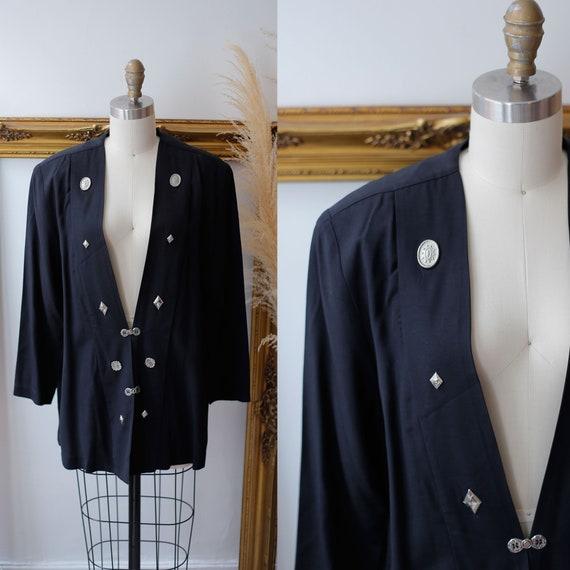 1980s black silver blazer // 1980s boyfriend blazer // vintage jacket