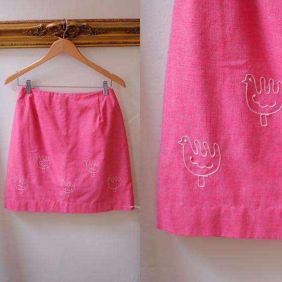 1960s pink mini skirt // 1960s rooster skirt // vintage skirt