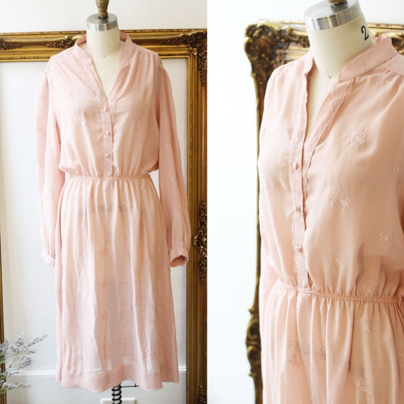 1970s Lanvin dress// 1970s pink long sleeve dress // vintage dress