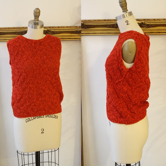 1980s burnt orange knit tank top // 1980s chunky knit tank top // 1980s knit tank top