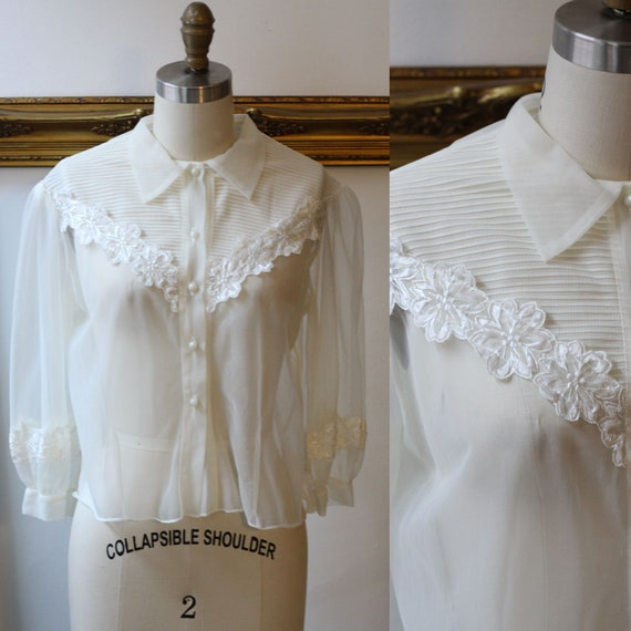 1960s sheer white floral blouse // 1960s nylon blouse // vintage top