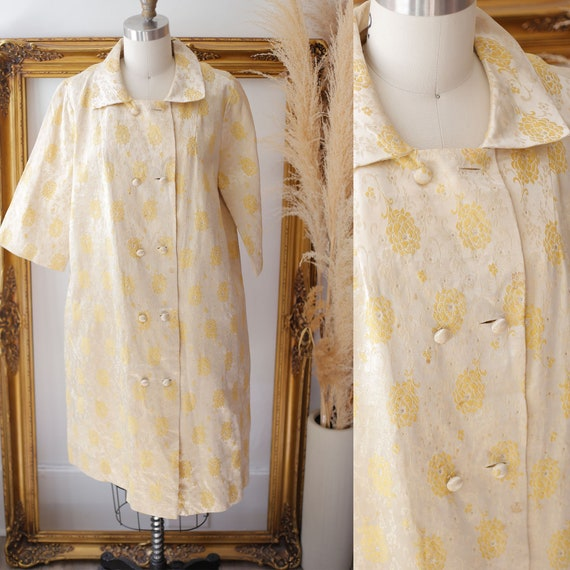1950s yellow swing coat // gold brocade coat // vintage coat