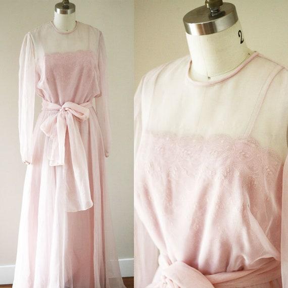 1970s pink sheer dress// 1970s lace dress // vintage dress