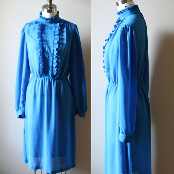 1970s blue ruffle dress // 1970s day dress // vintage dress