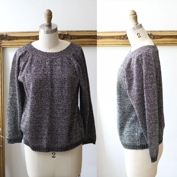 1980s black silver sparkle  // 1980s silver sweater // vintage sweater