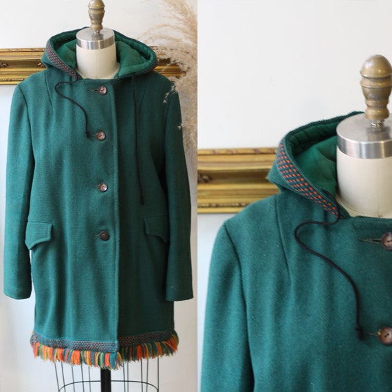 1970s green felt fringe coat // 1970s green coat /