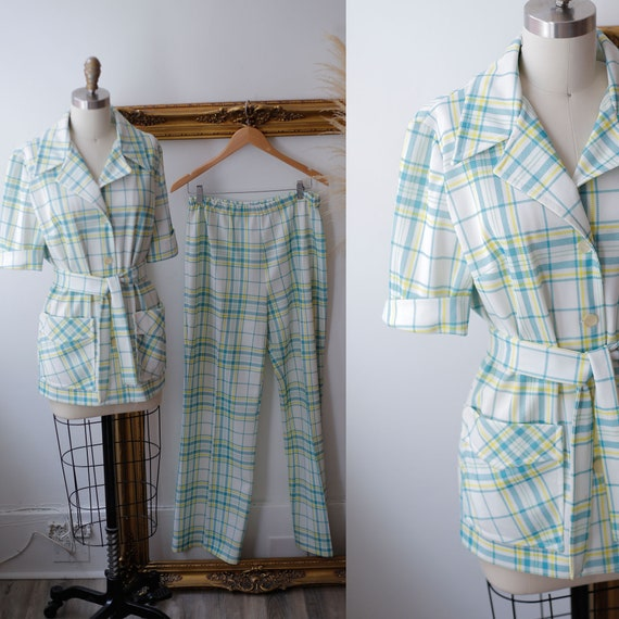 1970s green plaid two piece set // 1970s floral lo