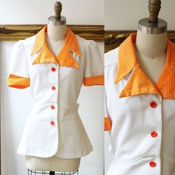 1970s orange polka dot top // 1970s hourglass top // 1970s blouse