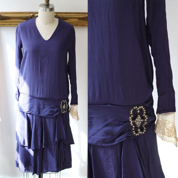 1920s cobalt blue silk dress // 1920s lace flapper dress  // vintage dress