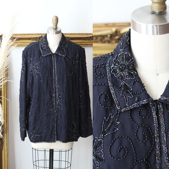 1980s Navy Blue Sequin Blazer // 1980s beaded blaz