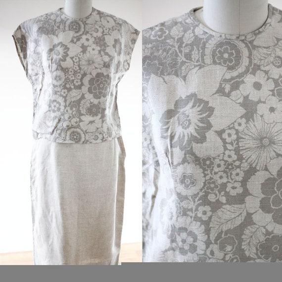 1960s floral linen two piece // 1960s skirt set // vintage skirt set