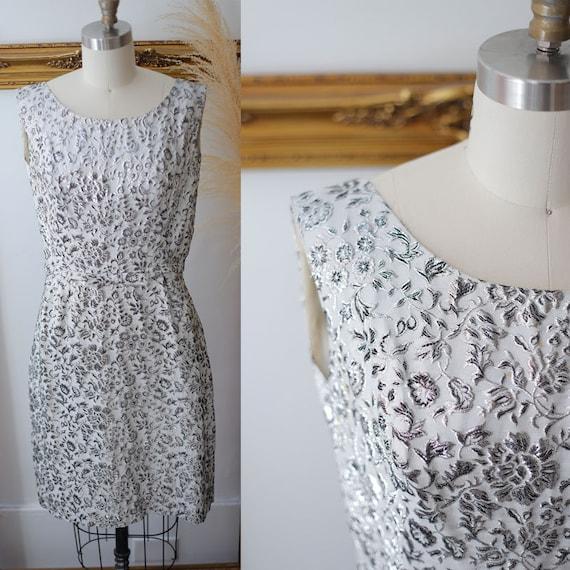1960s silver sparkle dress // 1960s silver floral dress // vintage dress