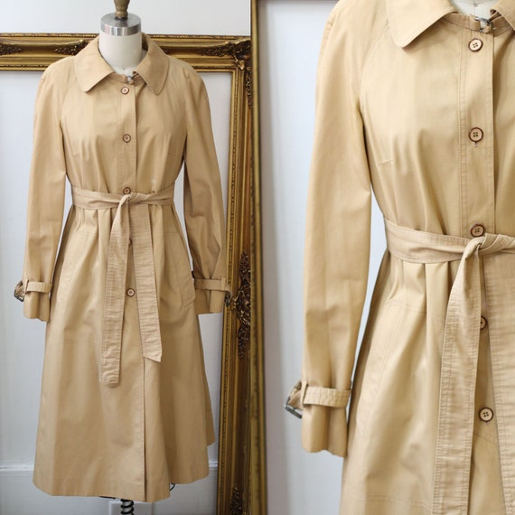 1970s tan trench coat // 1970s a-line trench coat // vintage coat