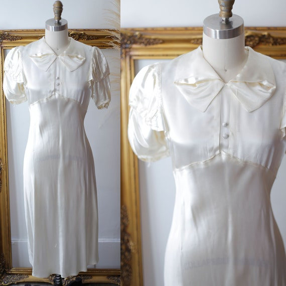 1930s white satin dress //  1930s liquid satin dre