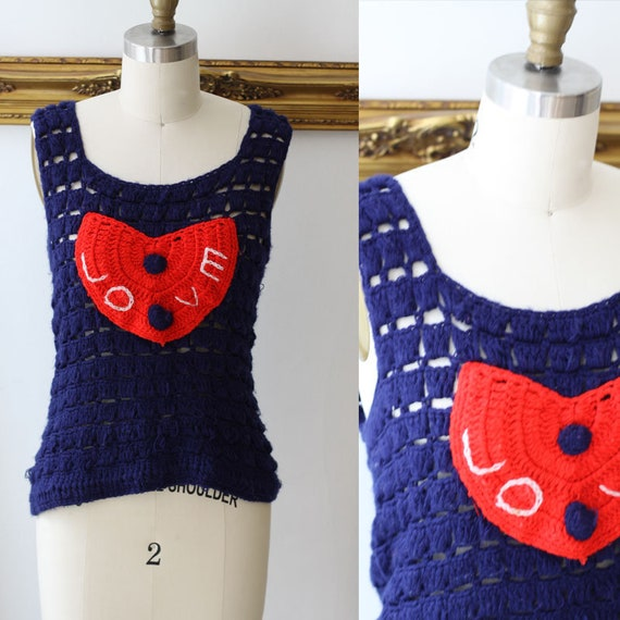 1970s love knit tank top //1970s novelty tank top // 1970s knit tank top