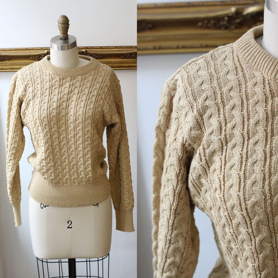1980s gold sweater // 1980s cable knit sweater // vintage womens sweater