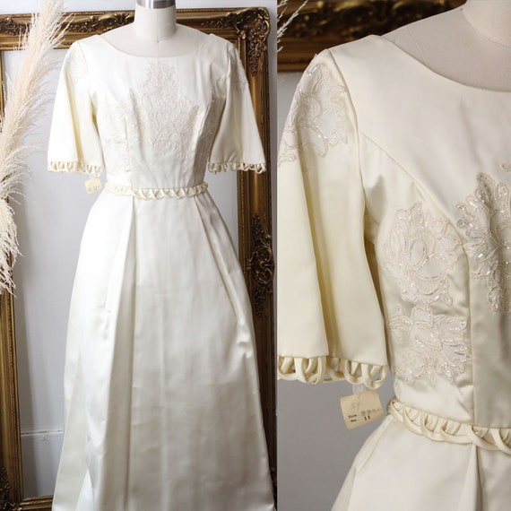 1960s ivory column wedding dress  // 1960s embroidered wedding dress // deadstock bridal dress