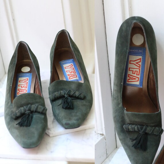 1980s green suede slips // buckle slips // vintage shoes