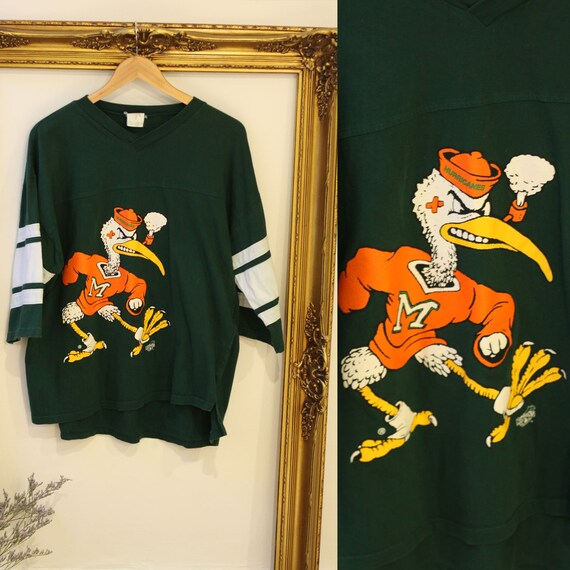 1990s Miami Hurricanes t-shirt jersey// 1990s Hurricanes shirt // vintage t-shirt