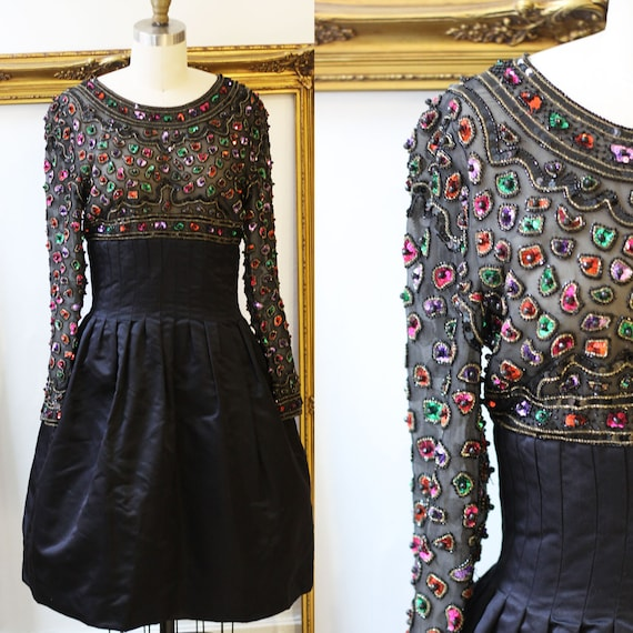 1960s sequin gem dress // 1960s black sequin dress // vintage cocktail dress
