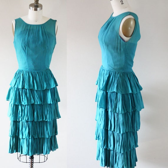 1950s blue ruffle chiffon dress // 1950s cupcake dress // vintage dress