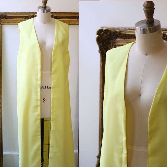 1960s yellow long vest // 1960s floor length vest  // vintage vest