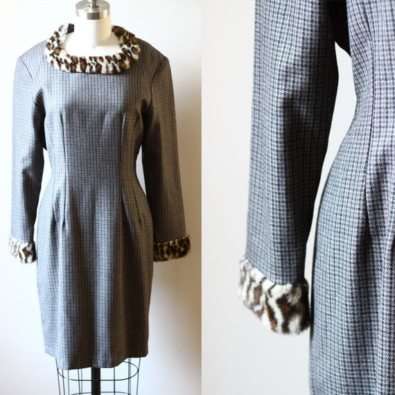 1980s plaid and leopard print dress // 1980s cocktail dress // vintage mini dress