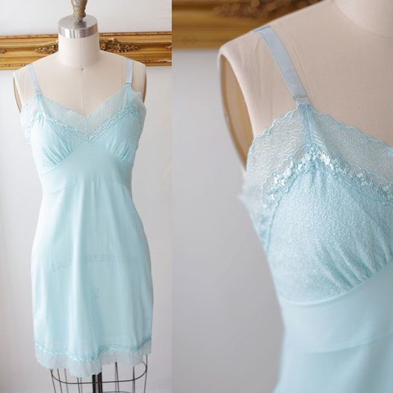 1950s sheer blue lace slip //  1950s soft blue slip // vintage lingerie