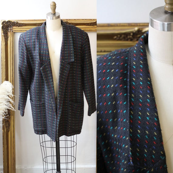 1980s checkered rainbow long blazer // 1980s oversized blazer // vintage jacket