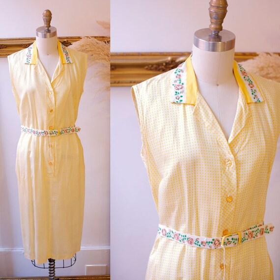1960s yellow shirt dress // 1960s floral golfing dress // vintage dress
