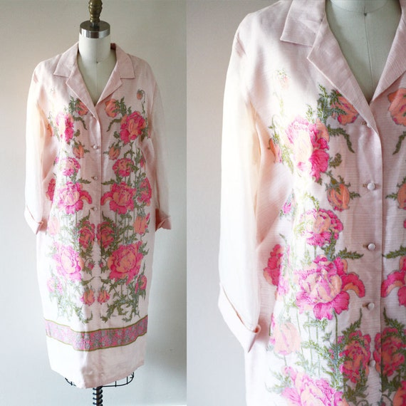 1970s Alfred Shaheen floral dress // hostess dress // vintage floral dress