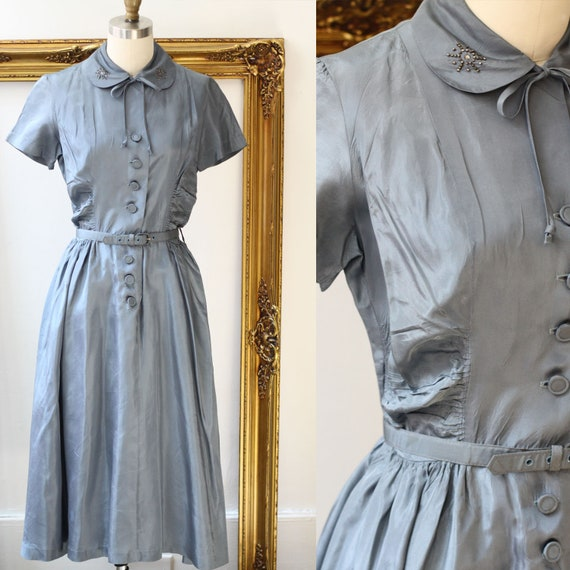1950s metallic blue day dress // beaded blue dress // vintage dress