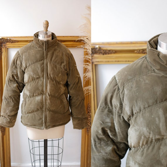 1990s army green quilted jacket //1990s bomber jac
