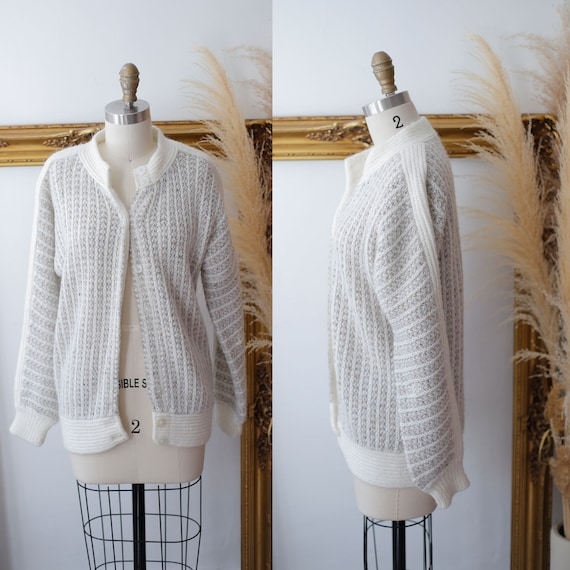 1970s grey thick knit // 1970s sweater jacket // Vintage zip up sweater