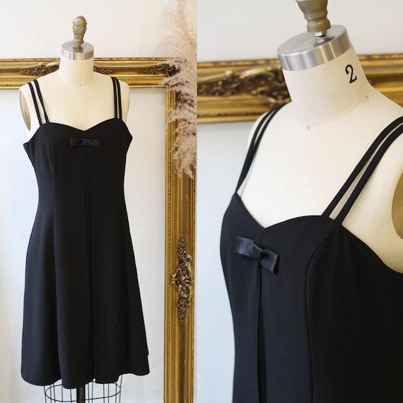 1980s black bow dress // 1980s black slit summer dress // vintage dress