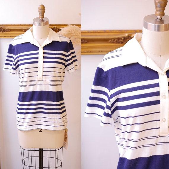 1970s navy blue stripe top // 1970s collared tee // 1970s deadstock