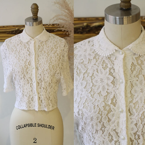 1980s sheer lace blouse // 1980s crop lace blouse // vintage crop lace top