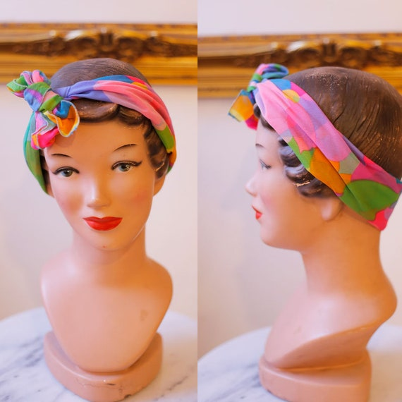 1960s sheer pink dot scarf  // vintage neck scarf // vintage nylon scarf