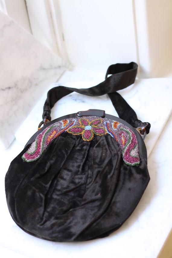 1930s velvet beaded handbag // 1930s floral handba