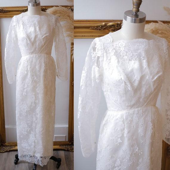 1960s sleeveless column wedding dress  // 1960s bow wedding dress // deadstock bridal dress